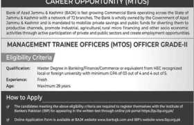 Bank of Azad Jammu & Kashmir Internships 2021
