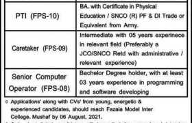Fazaia Model Inter College Mushaf Jobs 2021