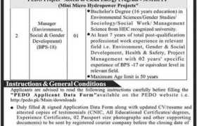 Jobs in PEDO Hydropower Projects 2021