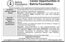 Jobs in Bahria Foundation Karachi 2021