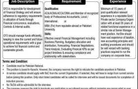 CFO Required in Karachi 2021
