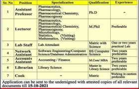 Jobs in LIAS College of Pharmacy Faisalabad 2021