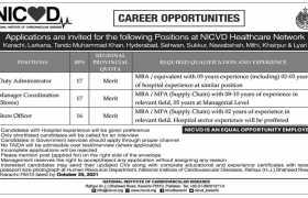 Jobs in NICVD Sindh 2021
