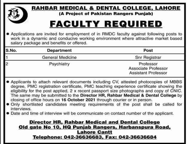 Jobs in Rahbar Medical College Lahore 2021