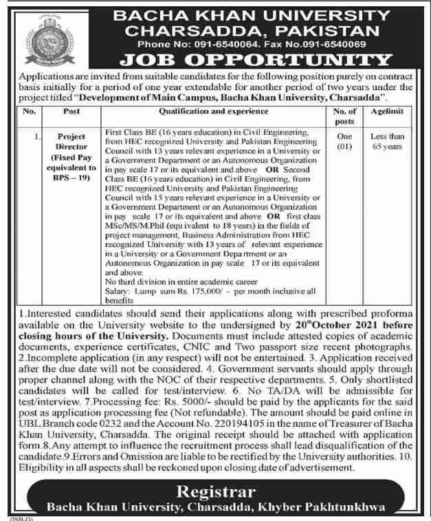 Jobs in Bacha Khan University Charsadda 2021