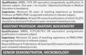 Jobs in FMH College of Medicine & Dentistry 2021