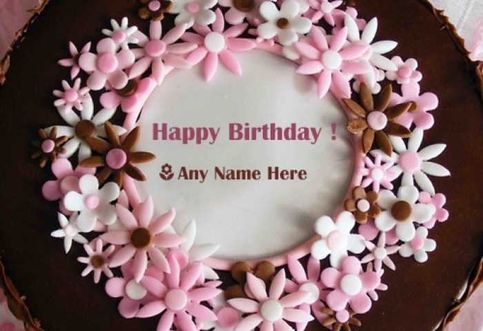 Scenery Image Birthday Cake With Name Editor For Girl