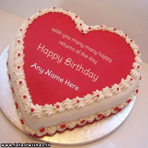 Heart Design Birthday Cake Name Wishes