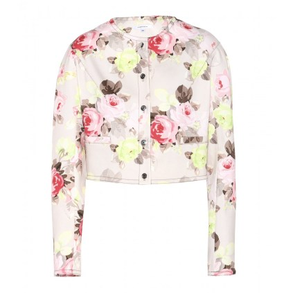 Carven CROPPED FLORAL-PRINT STRETCH-COTTON JACKET