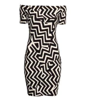 H&M Zig Zag Print Off-the-shoulder dress
