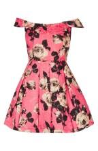 TOPSHOP 'Bardot' Textured Floral Off Shoulder Fit & Flare Dress