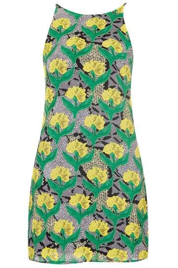 TOPSHOP Tropical Print Embellished Slip Dress