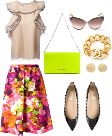 CHLO ruffle sleeveless blouse, VALENTINO floral a-line skirt, TOM FORD 'Madison' sunglasses, SAINT LAURENT 'Letters' clutch, CHANEL VINTAGE turnlock bracelet, CAROLINA BUCCI 'Mirador' half ball earring, VALENTINO GARAVANI 'Rockstud' ballerinas