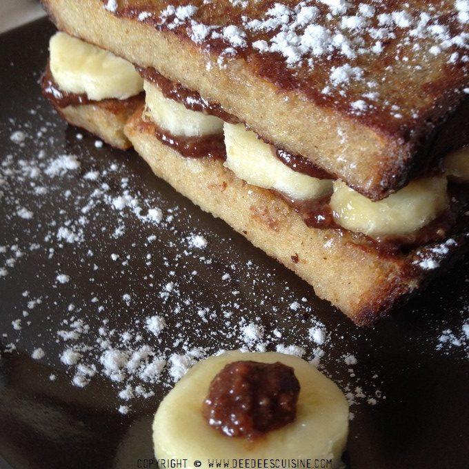 pain perdu à la pâte à tartiner et aux bananes