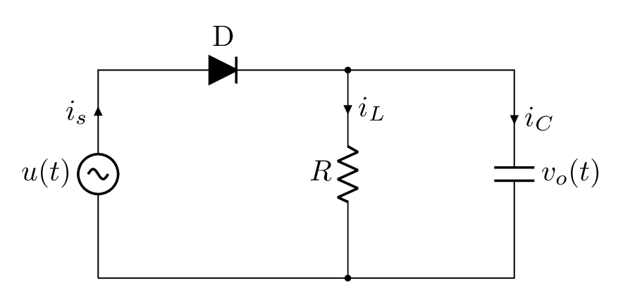 How to Draw Single Phase Half Wave Rectifier in LaTeX