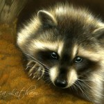 Curious Bandit - Raccoon, Watercolor on board with sterling silver and 24kt gold, ©Rebecca Latham