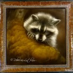 Curious Bandit - Raccoon, Watercolor on board with sterling silver and 24kt gold, ©Rebecca Latham, framed