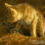 Snack Patrol - Wolf Pup, Opaque and Transparent Watercolor with Sterling Silver and 24kt Gold on Board, 8in x 10in, ©Rebecca Latham