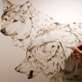 """Another snapshot of the new painting of wolves in progress, detail part 3 (20"""" x 30"""") - sepia and burnt umber underpainting. ©Rebecca Latham"""