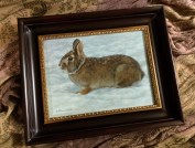 One of my paintings - Light Snow - Rabbit, 9in x 12in, watercolor on board with sterling silver