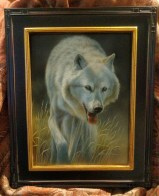 Graceful Strides - White Wolf, 9x12in, watercolor on board with sterling silver