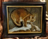 Resolute - Mountain Lion, 11x14in, watercolor on board with sterling silver