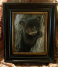 Thoughtful Moment - Black Bear Cub, 8x10in, watercolor on board with sterling silver