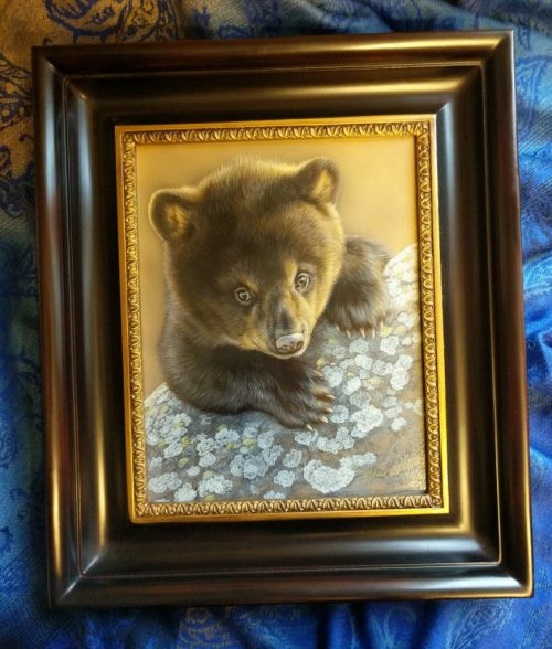 Bearly Curious - Black Bear Cub, 10x8, watercolor on board with sterling silver, Rebecca Latham