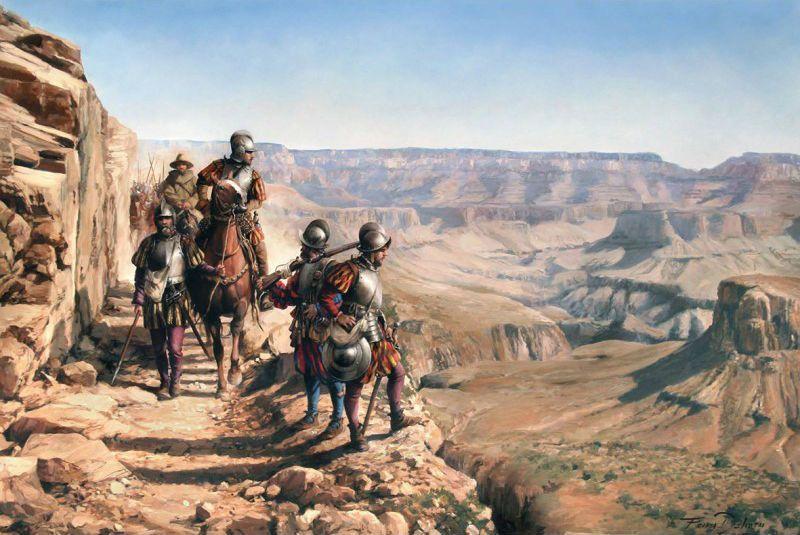 """Lámina """"Españoles en el Colorado"""""""