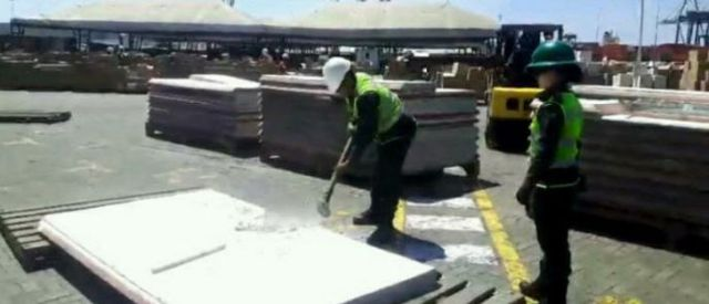 Die Behörden wiesen darauf hing, dass sich das Kokain innerhalb von 92 Betonfertigteilen befand