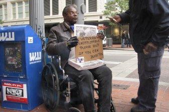 A homeless American veteran
