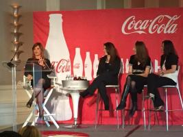 "Panel ""Uncap Your Happiness"" presented by Coca-Cola at Hispanicize 2015 including celebrities such as Maria Celeste, Host of Telemundo ""Al Rojo Vivo;"" Nataly Arias, Women's Colombian National Team Soccer Player; and Nelly Galan, The Adelante Movement."