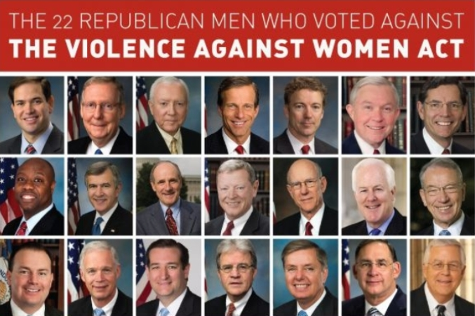 Senate members voting against violence against women act