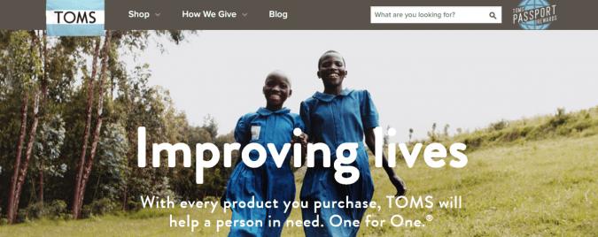 Toms improving lives social mission