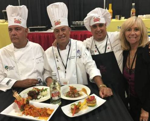 Susana from Latinasinbusiness.us with Chefs Otero Perez, Fernandez Monte and Chef Battle World Latino Cuisine