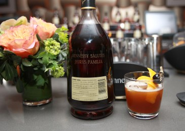 An engraved Hennessy V.S.O.P Privilege along with a signature drink La Familia is seen at Hennessy V.S.O.P Privilege Celebrates Hennessy All-Star Jeurys Familia at Stage 48 on Monday, June 20, 2016, in New York. (Photo by Donald Traill/Invision for Hennessy V.S.O.P Privilege/AP Images)