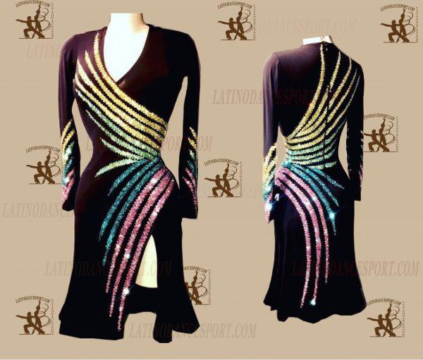 LATINODANCESPORT.COM-Ballroom LATIN RHYTHM Dance Dress-LDS-50
