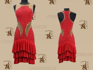 LATINODANCESPORT.COM-Ballroom LATIN RHYTHM Dance Dress-LDS-73