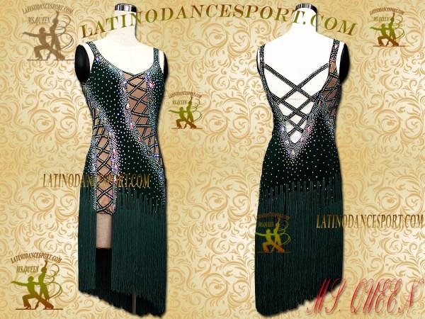 LDS-03B-Ballroom Latin Dance Dress Tailored Stoned Competition