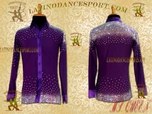 MDS-06A-Ballroom Dance CostumesLatin Rhythm Tailored Dance Shirt Body DMC Stoned Competition
