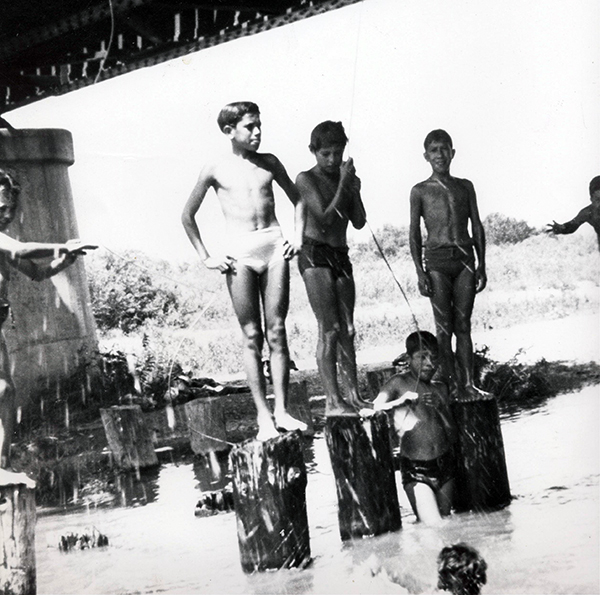 """El Monte youth using the Rio Hondo as a recreational space."" Photo: La Historia Historical Society. See more at http://www.kcet.org/socal/departures/san-gabriel-river/life-at-marrano-beach-the-lost-barrio-beach-of-the-san-gabriel-valley.html"