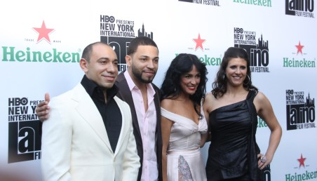 Celines Toribio with Henry Santos of Aventura and the founders of the NYILFF