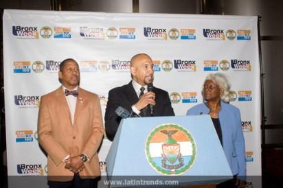Left to right: Council Member Andy King, Bronx Borough President Ruben Diaz, Jr, Deputy Bronx Borough President Aurelia Greene