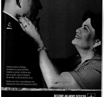 Magazine ad for military showing man in uniform on left looking down on mother on right who caresses his face
