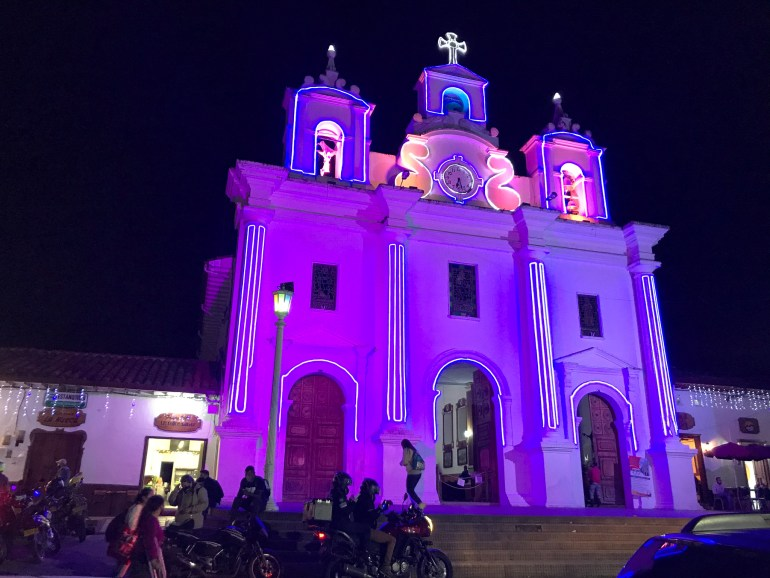 Historic church lit for holidays in El Retiro for 2020 Retrospective