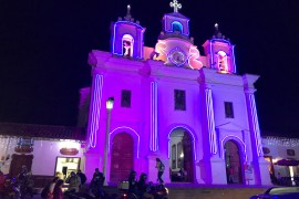 Historic church lit for holidays in El Retiro for 2020 Retrospective