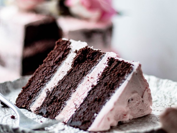 Semi-Naked Chocolate Cake with Vanilla & Rose Buttercream