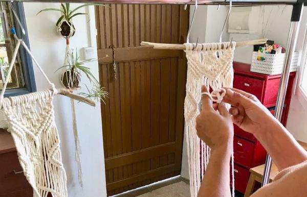 atelier suspension pour plante en macramé