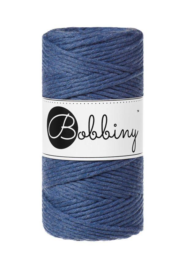 corde peignée 3mm pour macramé couleur Jean bleu nuit