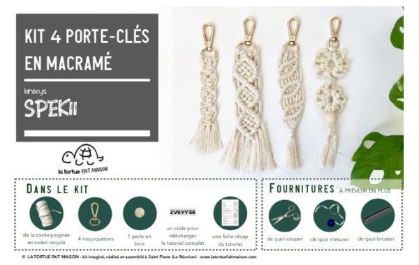 Kit porte-clés en macramé à faire soir-meme DIY La Tortue Fait Maison